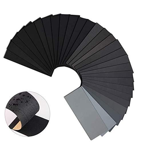 Schleifpapier Trocken Nass, Schleifpapier Set, Sandpapier, Körnung Schleifpapier, Schleifpapier Sortiment, Nassschleifpapier, Wasserschleifpapier, Schleifpapier für Metall Stein Lack (56pcs)