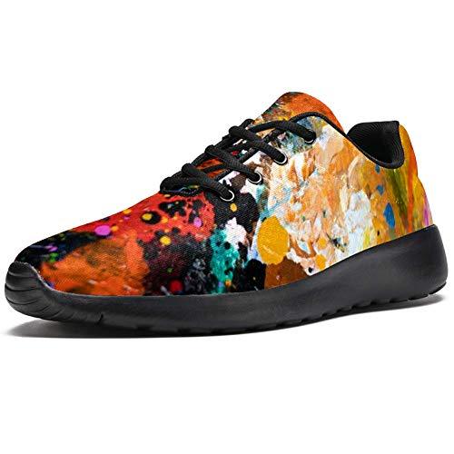 imobaby Sport-Laufschuhe für Damen, farbige Ölfarbe, modische Sneakers, Netzstoff, atmungsaktiv, Wandern, Tennisschuh, Mehrfarbig - mehrfarbig - Größe: 36.5 EU