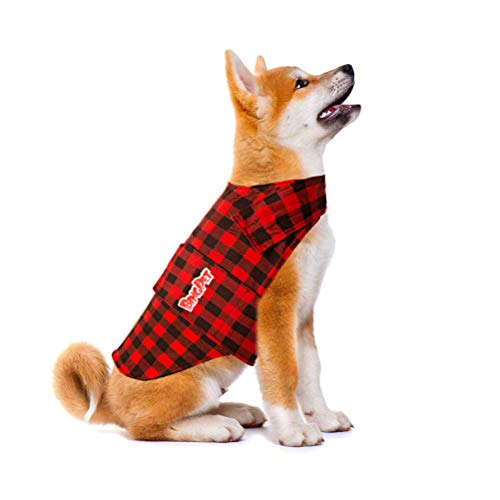 BINGPET Plaid Dog Jacket Calming Vest Calming Wrap, Anti Anxiety and Stress Relief Anxiety Shirt for Thunder, Fireworks