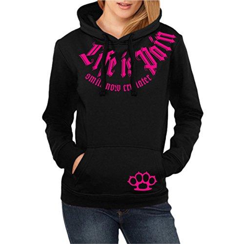 Frauen und Girls Hoody Kapuzenpullover Smile Now cry Later PINK (mit Rückendruck)