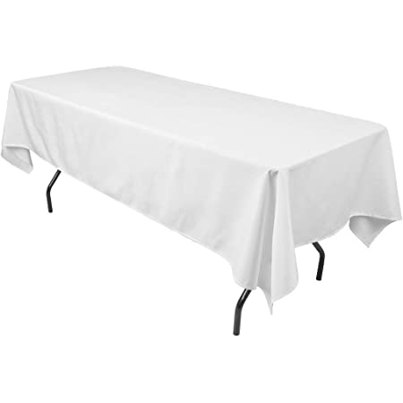 """Craft And Party Premium Polyester Tablecloth - 60"""" x 102"""" Rectangle White Tablecloth for Wedding, Restaurant or Banquet"""