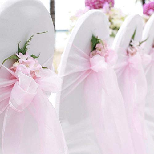BITFLY 25 Pcs Organza Chair Sashes for Wedding Banquet Party Decoration Chair Bows Ties Chair Cover Bands Event Supplies - Light Pink