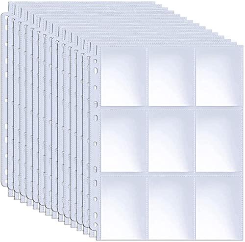 baseball card protectors 900 Pockets Baseball Card Sleeves, ABLY Double Side 9-Pocket Trading Card Binder Sleeves Page Protectors Sheet for Skylanders, Pokemon, Top Trumps for 3 Ring Binder(50 Pages)