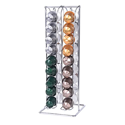 SYSYLY Kapselhalter,Kapselspender für 36 Nespresso Kapseln, Kaffeekapselhalter zur Aufbewahrung, Chrome,Silber