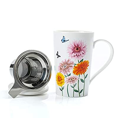 TEANAGOO Ceramic Tea-Mug with Infuser and Lid, 18 OZ, Gerbera, M58-13 Nice for Tea Lover porcelain tea cup with infuser and lid, women porcelain mug with lid with diffuser/brewing cups brewer