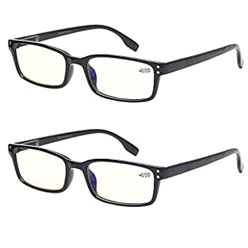 Computer Glasses 2 Pair UV Protection Anti Blue Rays Anti Glare and Scratch Resistant Computer Reading Glasses  0.75 2 Pack Black