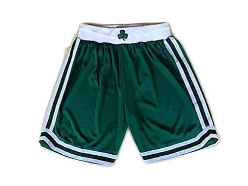 HGTRF Retro Boston Celtics Basketball-Shorts bestickte Fitness Outdoor-Trainingsshorts-Green-M