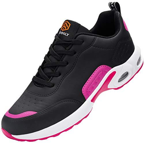 DYKHMILY Zapatos de Seguridad Mujer Ligeros Comodo Zapatos de Trabajo con Punta de Acero Respirable Antideslizante Calzado de Seguridad Deportivo(37EU,Rosa Negro)