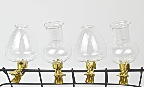 Schmiedegarten Mini Glasvasen im 4er Set mit Befestigungsclip. Glas Vasen für die besondere Dekoration- Clip Vase - Glasvase