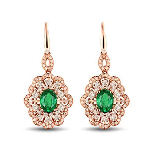 Bishilin Pendientes Oro Rosa 750 18 Kilates, Flor Con Esmeralda Ovalada 1.62 Pendientes de Gota Elegante Pendientes de Gota Para Mujer Colgantes Elegantes Para Cumpleaños Navidad