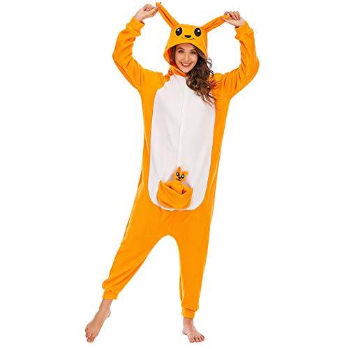 Kigurumi Pijamas de Animales Adultos Unisex Disfraces Onesie Ropa de Dormir Disfraz de Cosplay de Animales,2LTY56-amarillo Canguro,L