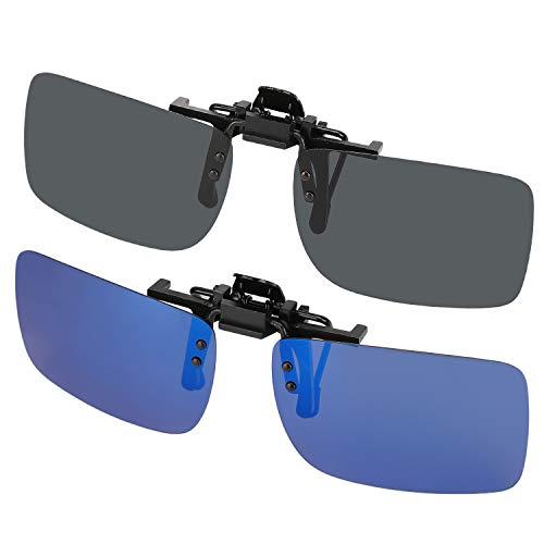 Hifot Sonnenbrille Aufsatz Clip on Sonnenbrille 2 Pack, polarisierte Linse passen über Korrekturbrillen, Flip-up randlose Myopie Sonnenbrille für Frauen und Männer