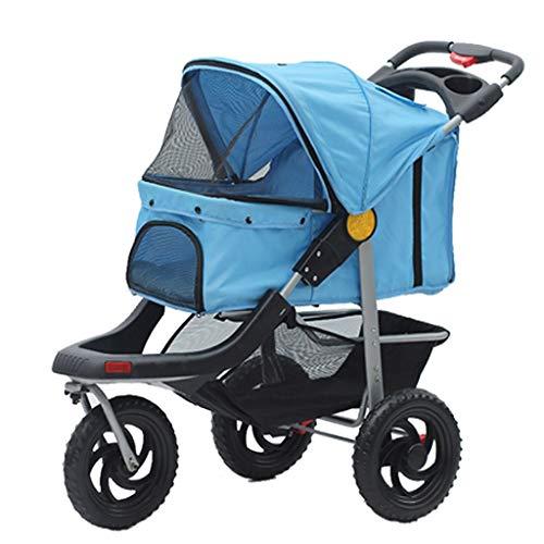 BTIR No-Zip Jogger vijf buggy voor katten/honden zonder ritssluiting Entry Easy One Hand Fold banden banden banden hond fiets Rimorchi, duurzame wielen, Blauw