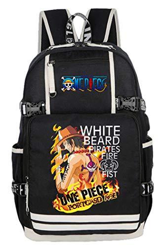 WANHONGYUE One Piece Portgas D Ace Anime Mochila Escolar Estudiante Backpack Mochila para Portátil con Puerto de Carga USB /19