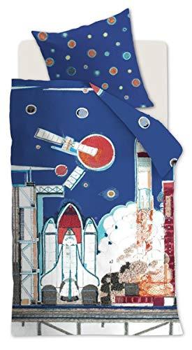 Beddinghouse Kids Renforcé Bettwäsche 2 teilig Bettbezug 100 x 135 cm Kopfkissenbezug 40 x 60 cm Kids Rocket Ship 196418 Blau