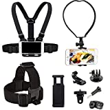 Yoogeer VLOG/POV Adjustable Cellphone Selfie Chest Head Neck Mount Holder Strap for Action Camera/Gopro Hero/Apple iPhone SE 11 Xs X 8 7 Samsung Galaxy S20 S20+ BLU Phone (Chest + Head + Neck Mount)