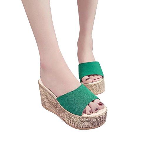 BSGSH Women Wedges Slides Slip-On Comfort Lightweight Platform Sandals Summer Beach Flip Flops Sandals (7 B(M) US, Green)