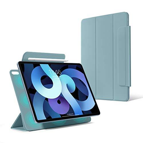 2020新しい iPad Air 第4世代10.9インチ ケース 磁気吸着【フレームレス設計】 Apple Pencilペアリングとワイヤレス充電機能対応 三つ折オートスリープ機能 軽量 手触りがいい iPad Air 4-10.9専用 (青)