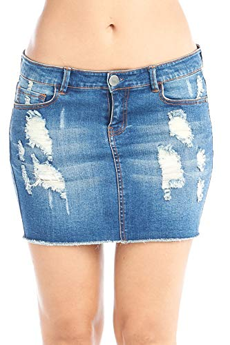 Hollywood Star Fashion Women's Distressed Denim Mini Skirt Large Dark Blue
