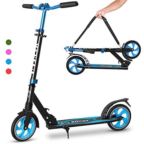 VOKUL Scooter Faltbarer Kick Scooters für Jugendliche & Erwachsene ab 12 Jahren, Tretroller Big Wheel Scooter 205 MM | Cityroller Höhenjustierbar | Stoßdämpfer | Umhängegurt | Kapazität Bis 220lbs