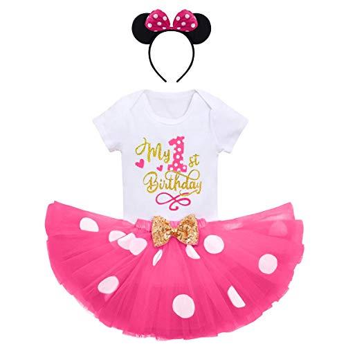 FYMNSI Baby Mädchen Mein 1. Geburtstag Outfit Maus Kostüm Gepunktet Tütü Rock Baumwolle Kurzarm Body Strampler mit Ohr Stirnband 3tlg Bekleidungsset Fotoshooting Sommer Rose