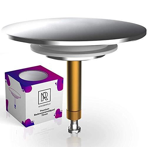 Premium Badewannenstöpsel Universal Ø 72 mm für handelsübliche Abflüsse in der Badewanne mit innovativer Doppel Dichtung, Abfluss-Stopfen aus Messing mit harter Chrom Oberfläche, Rostfrei & Dicht