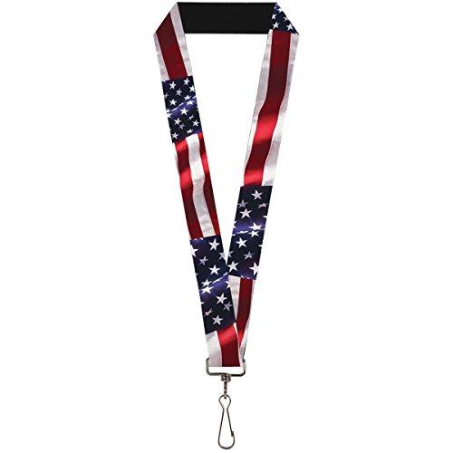 """Buckle-Down Unisex-Adult's Lanyard - 1.0"""" - American Flag Vivid C/u"""