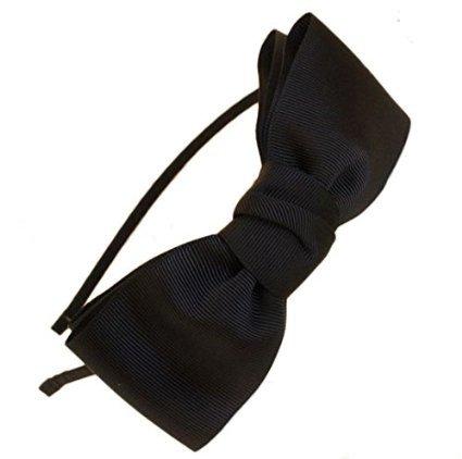 Miya hochwerige süß Mädchen Haareif Haarband mit schöner großer Schleife aus Satin in schwarz, Haarschmuck Stirnband (Schwarz)