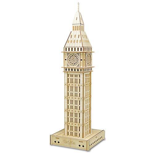 CHEN J Puzzle 3D, el Big Ben Modelo de Madera británica de Bricolaje Tridimensional del Rompecabezas de Rompecabezas de Corte Tratamiento mecánico de la Caja de Color
