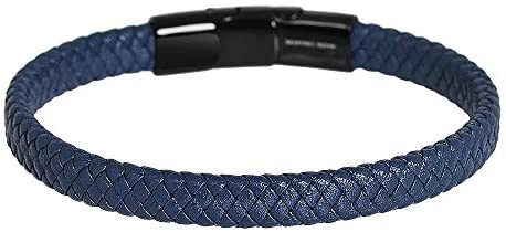 Men's Braided Genuine Leather Bracelet with Stainless Steel Magnetic Closure