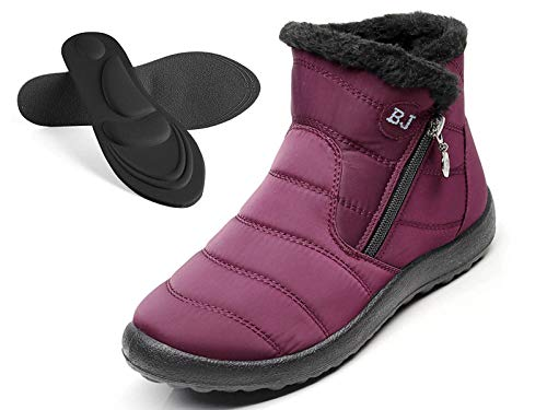 LAVAU Women Winter Snow Boots Waterproof Fur Lined Ankle Booties Slip On Outdoor Sneakers with 4D Arch Support Insoles NNXD02-W-hong-39