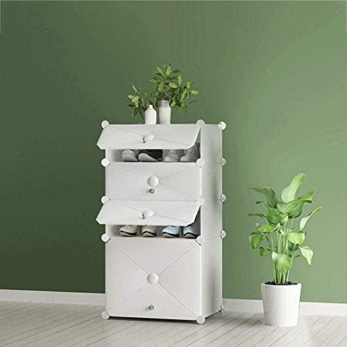 ZAIHW Simple Home Ahorro de Espacio Multifunción Plástico a Prueba de Polvo Gran Capacidad Zapatero Gabinete Zapatero Multicapa 49x37x92cm Taburete para Cambiar Zapatos (Color: Blanco)