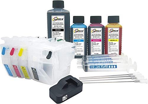 refill24 Cartuchos Recargables, Compatible para Brother LC3211, LC3213- Negro y Color. Incluye reseteador y Accesorios + 550 ML de Tinta