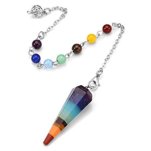 JSDDE 7 chakras Reiki curación Dowsing Crystal Péndulo Hexágono de piedras colgantes