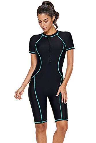 GOSOPIN Damen Badeanzug Tankini Swimsuit Sportlich Bademode Figurformend Neoprenanzug Schwimmanzug, Blau 1, M