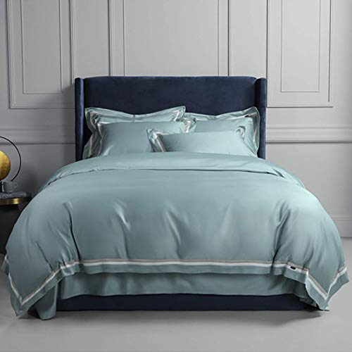 FTFTO Household Products Winter Four Piece Suit Warm Cotton Sheets And Duvet Cover Solid Color Four Piece Suit Long Staple Cotton Bedding Simple Four Piece Suit Blue 2m