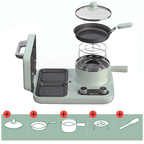 Home Double-Sided Heating Sandwich Maker, Sandwich Light Food Breakfast Machine with Frying Pan Multifunctional Toaster Maker Double Layer Non-Stick,Green,B