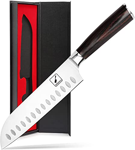 Santoku Knife - imarku 7 inch Kitchen Knife Ultra Sharp Asian Knife Japanese Chef Knife - German HC Stainless Steel 7Cr17Mov - Ergonomic Pakkawood Handle, Best Choice for Home Kitchen, Brown