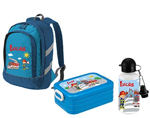 Mein Zwergenland Set 3 Kindergartenrucksack Bicolor + Brotdose Lunchbox Maxi und Alu-Trinkflasche mit Namen, 3-teilig, Feuerwehr, Blau
