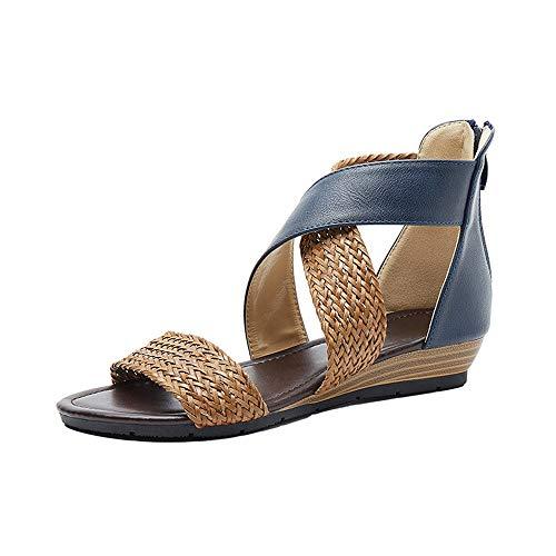 Sandalias De Viento Nacionales Sandalias De Tacón De Cuña Tejidas Femeninas Sandalias De Tacón De Cuña Retro Zapatos Romanos Zapatos Planos