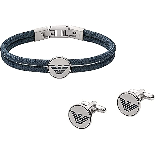 Emporio Armani EGS2784040 - Juego de pulsera y gemelos para hombre (21,5 cm)