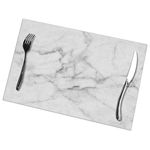 tyui7 Textura de mármol Blanco Natural Manteles Individuales Lavables Resistentes al Calor...