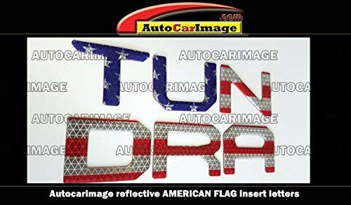 REFLECTIVE AMERICAN FLAG TAILGATE RAISED LETTERS COMPATIBLE FOR TOYOTA TUNDRA 2014 2015 2016 2017 2018
