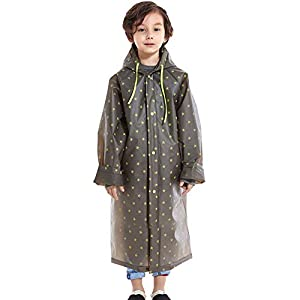 O-Life 子供用 レインコート キッズ バイザー付け 緑と黒 レインポンチョ 通学 通園 雨具 合羽 星柄 男の子 女の子 ランドセル対応 かっこいい