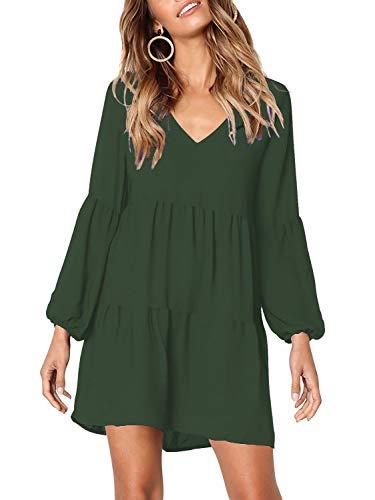 MISSLOOK Women's Short Sleeve Tunic Dress V Neck Ruffle Loose Mini Dress Swing Shift Dresses Deep Green