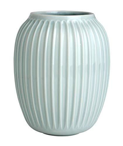 Hak Kähler Hammershoi Vase aus Porzellan mit Rillen, Moderne Vase, rund, bauchige, skandinavisches Design Vase für Blumen, Mint, 21cm