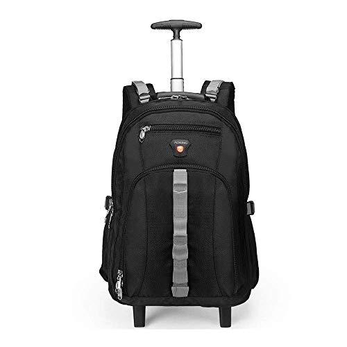 ZXM Gli Studenti Trolley Zaino con Le rotelle, con Scomparti for Notebook Portatile Valigia a rotelle, Business Travel Bag Tablet (Colore : Nero, Size : 22 inch)