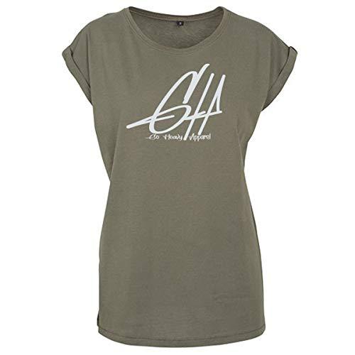 GO HEAVY Oversize Damen Fitness Trainings T-Shirt | Kurzarm Yoga Gym Sportshirt | Logo Aufdruck Graphic | Oliv L