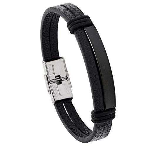 EMFGJ Pulsera de cuero sintético trenzado de acero inoxidable para hombre, pulsera simple de cadena negra, gran regalo para hombre, cuero negro + negro