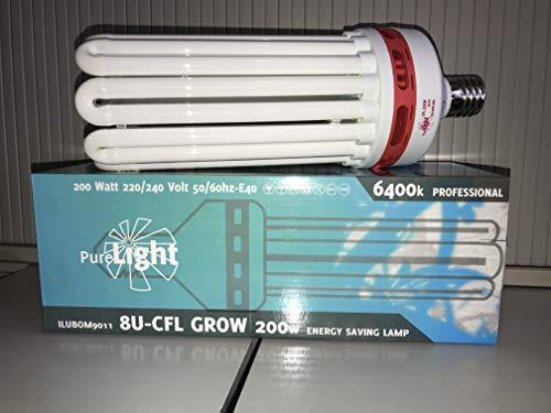 Purelight ESL Wuchs 200 W, Energiesparlampe/Pflanzenlampe [erhältlich als 125, 200 oder 250 W]